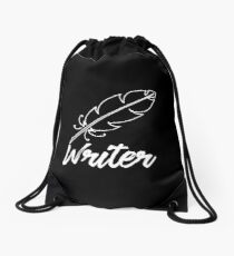 Writer with feather quill Drawstring Bag