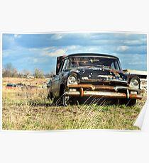 Junkyard Vibes: Black Rusted Car Poster