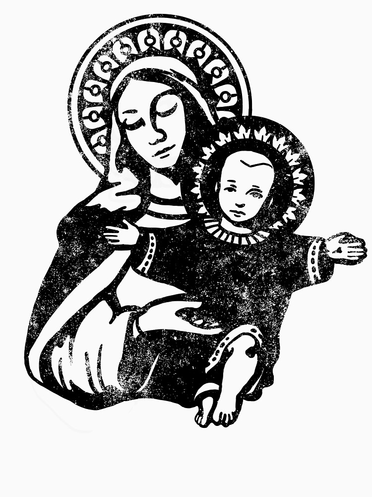 Mary the Madonna with Baby Jesus Catholic Artwork by DOODL