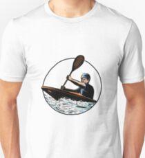 Kayak Paddler Canoe Scratchboard  Unisex T-Shirt
