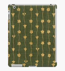 Green cloth book cover with gold inlay creeping trellis flowers iPad Case/Skin