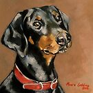 "Doberman Pinscher. Oil on canvas 10x10"" by Elizabeth Moore Golding"