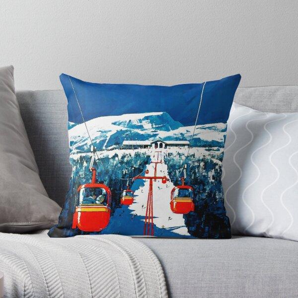 Vintage Stowe gondola winter travel ski poster Throw Pillow