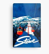 Lienzo metálico Vintage invierno país de las maravillas góndola deporte de invierno nieve esquí