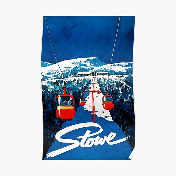 Vintage Stowe gondola winter travel ski poster Poster
