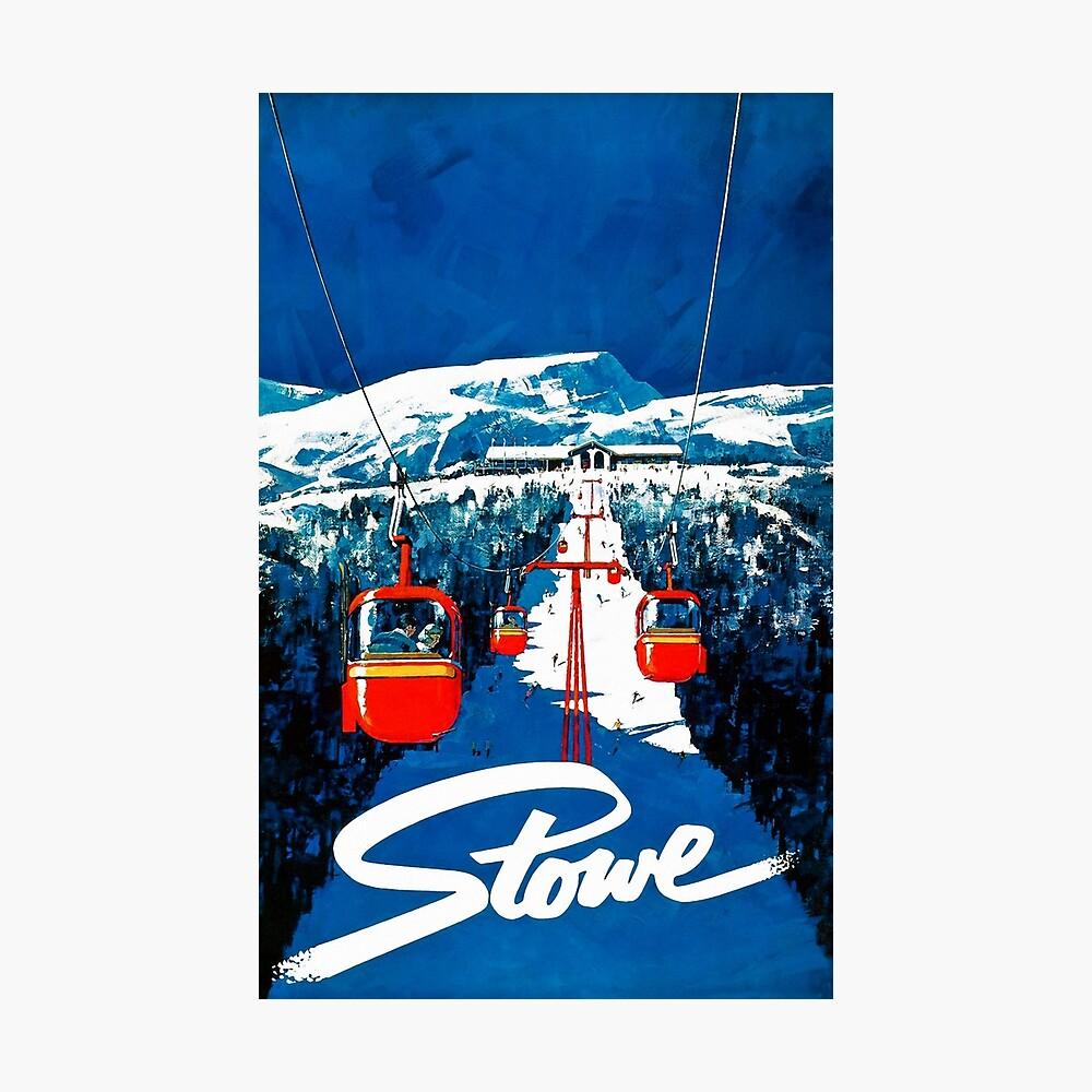 Vintage Stowe gondola winter travel ski poster Photographic Print