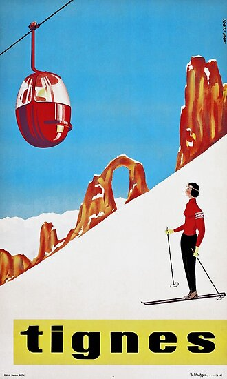 Quot She Skis Alone Vintage Ski Sport Poster Quot Poster By