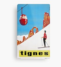 She Skis Alone, Vintage ski sport poster art Metal Print