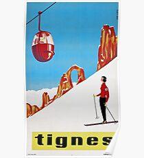 She Skis Alone, Vintage ski sport poster art Poster