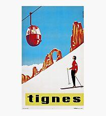 She Skis Alone, Vintage ski sport poster art Photographic Print