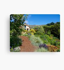 House and Garden, French Farm, Banks Peninsula, New Zealand. Canvas Print