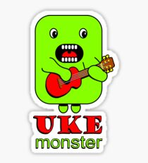 Ukulele Monster Cartoon Sticker