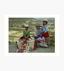 Peruvian Girls with Traditional clothes  Art Print