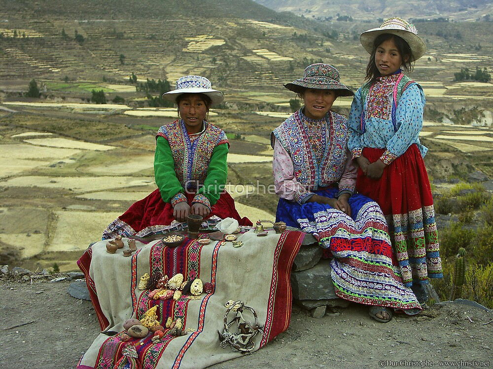 Peruvian Girls with Traditional clothes  by Christophe Dur