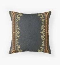 Dark BlueBlack and Crimson Brown leather book cover with intricate gold inlay design Throw Pillow