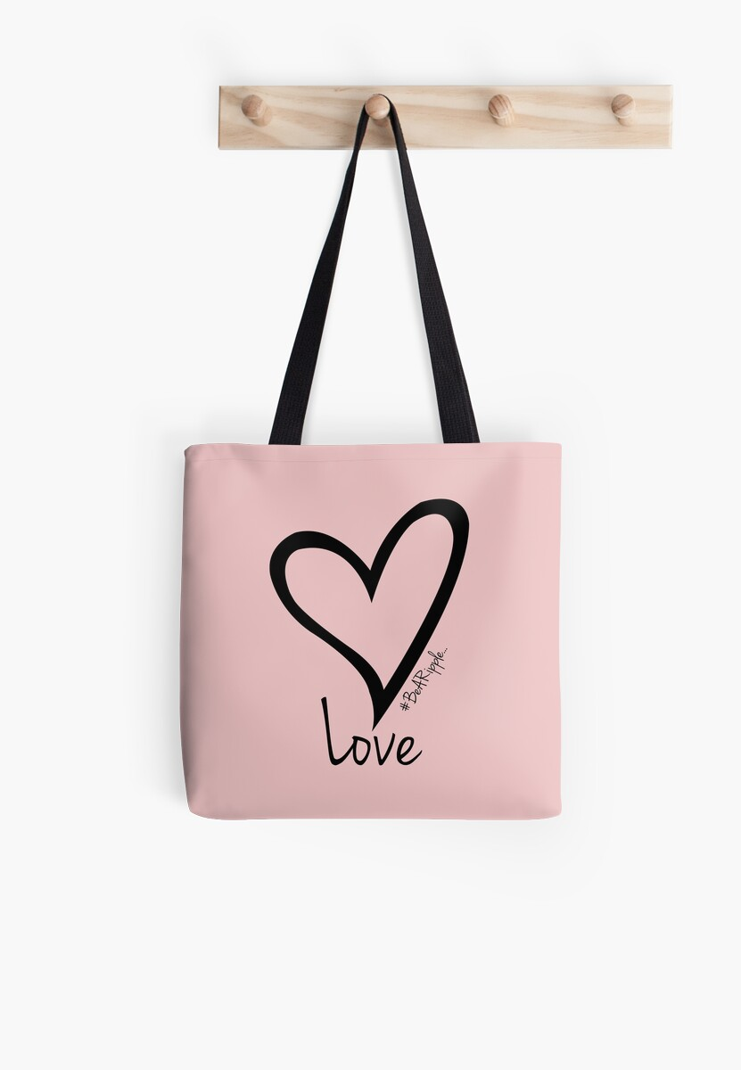 LOVE....#BeARipple Black Heart on Pink by BeARipple