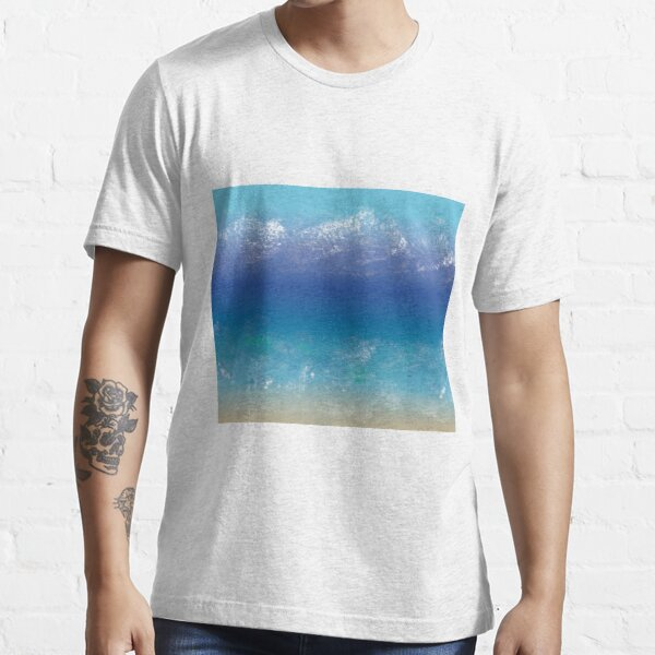 Abstract Teal, Blue Painting, Beach, Mountains Essential T-Shirt