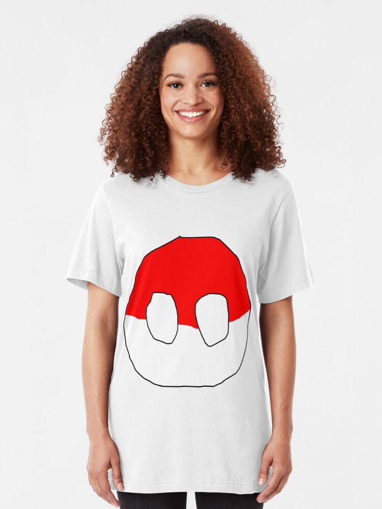 Alternate view of Polandball - Can into space - Countryball Slim Fit T-Shirt