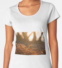 Dried orange red grass closeup beach sunset Women's Premium T-Shirt