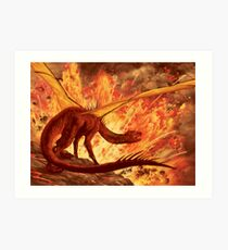 Dragon Peering over Vulcan's Edge Art Print