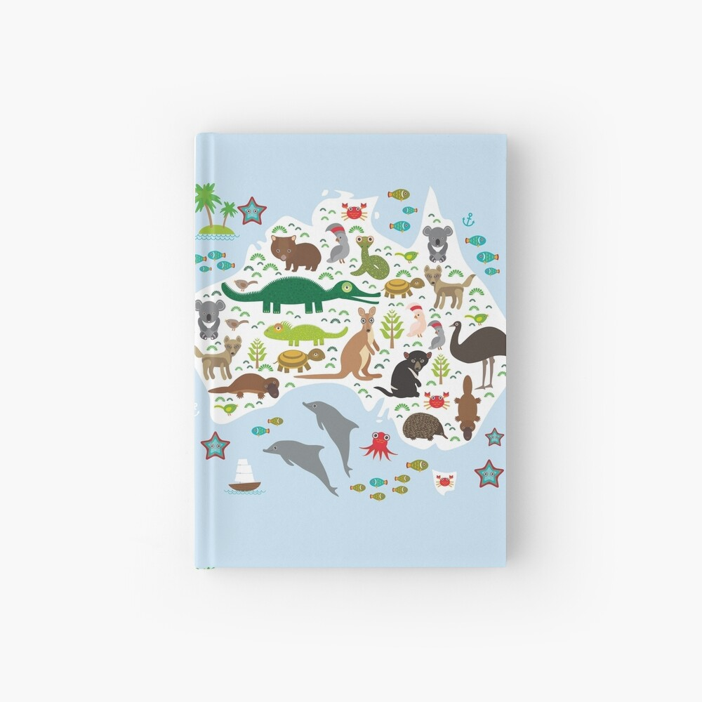 Australian animal map and ocean Echidna Platypus ostrich Emu Tasmanian devil Cockatoo parrot Wombat snake turtle crocodile kangaroo dingo octopus fish. Hardcover Journal