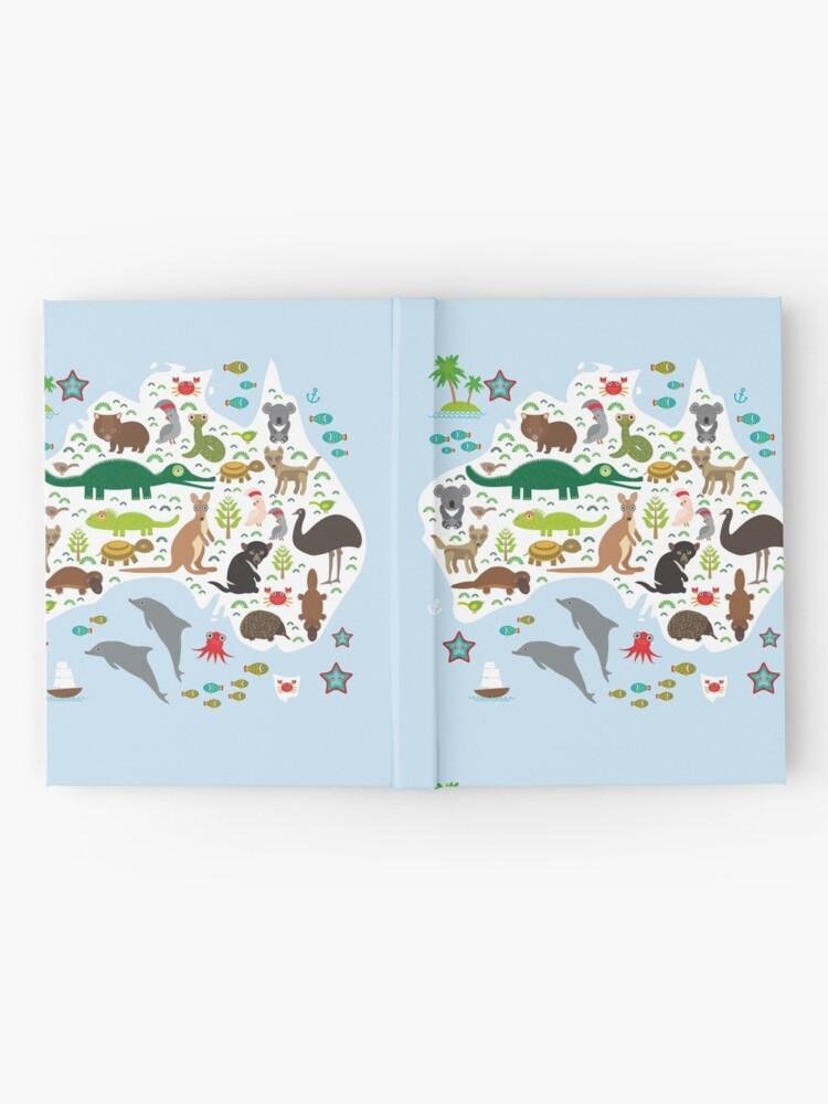 Vista alternativa de Cuaderno de tapa dura Mapa de animales australianos y océano