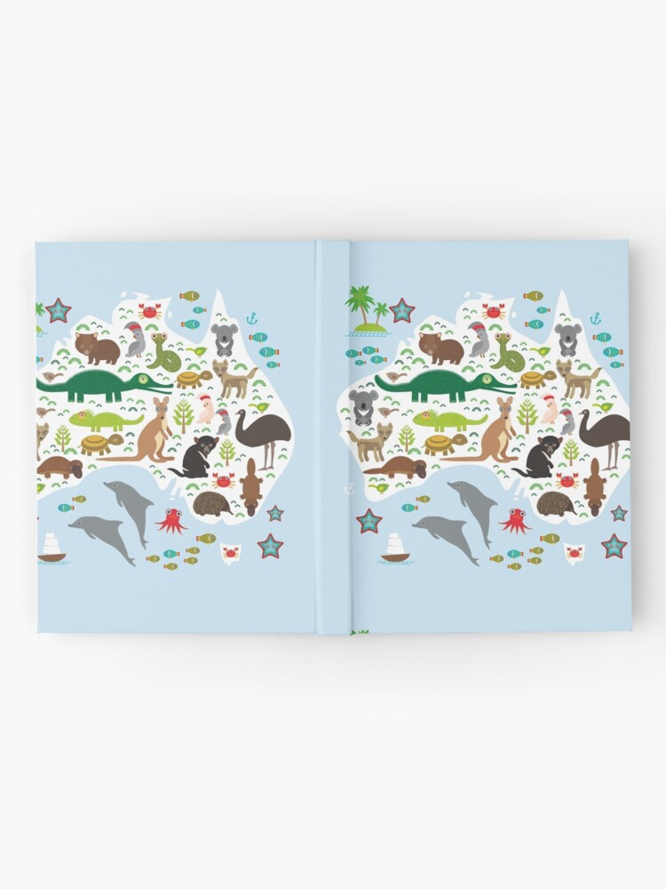 Alternate view of Australian animal map and ocean Echidna Platypus ostrich Emu Tasmanian devil Cockatoo parrot Wombat snake turtle crocodile kangaroo dingo octopus fish. Hardcover Journal