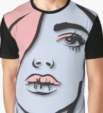 The Face of a Woman Shrouded in Pink Graphic T-Shirt