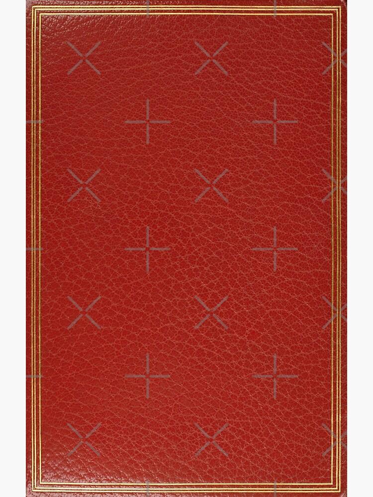 Couverture De Livre En Cuir Rouge Avec La Conception Simple De Frontiere D Incrustation D Or Impression Sur Toile