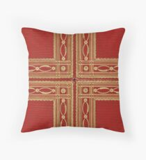 Bright red leather book cover with gold inlay fringed design Throw Pillow