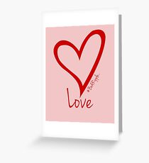 LOVE....#BeARipple Red Heart on Pink Greeting Card