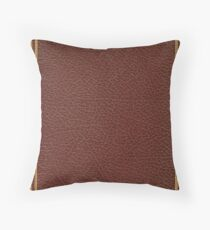 Deep crimson brown leather book cover with linear gold inlay border design Throw Pillow