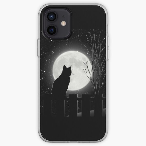 Silent night Cat looking at the full moon iPhone Soft Case