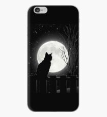 Silent night Cat looking at the full moon iPhone Case