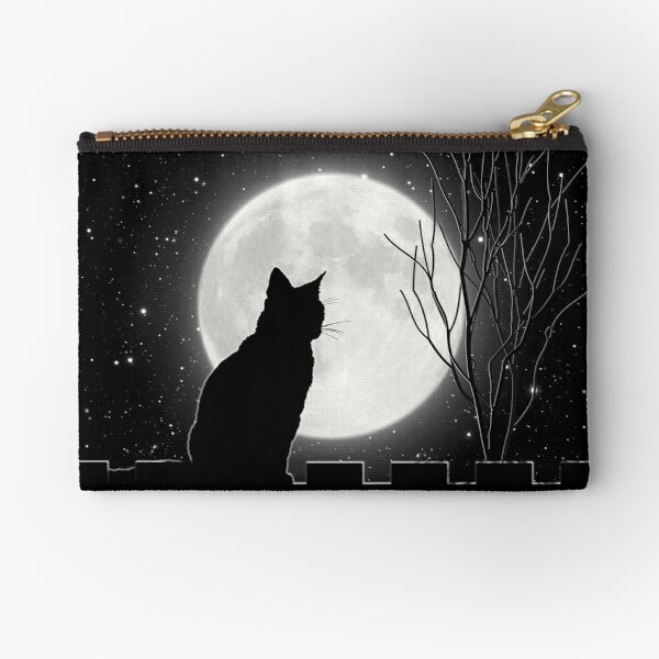 Silent night Cat looking at the full moon Zipper Pouch