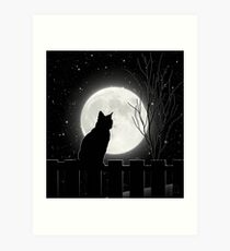 Silent night Cat looking at the full moon Art Print