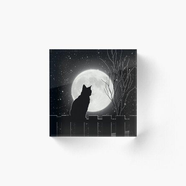 Silent night Cat looking at the full moon Acrylic Block