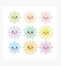 Kawaii snowflakes Photographic Print