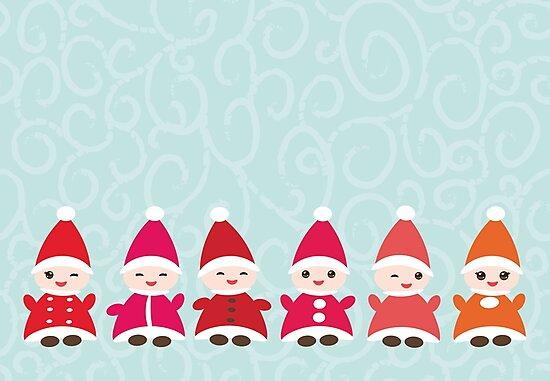 Frohe Weihnachten Guten Rutsch Ins Neue Jahr Karte Lustige Gnome