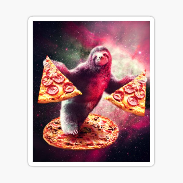 Funny Space Sloth With Pizza  Sticker