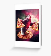 Funny Space Sloth With Pizza  Greeting Card