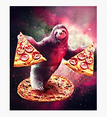 Funny Space Sloth With Pizza  Photographic Print