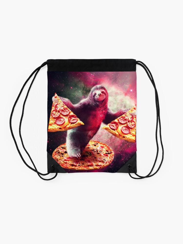 Alternate view of Funny Space Sloth With Pizza  Drawstring Bag