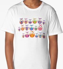bright colorful owls on black background Long T-Shirt