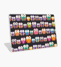 bright colorful owls on black background Laptop Skin