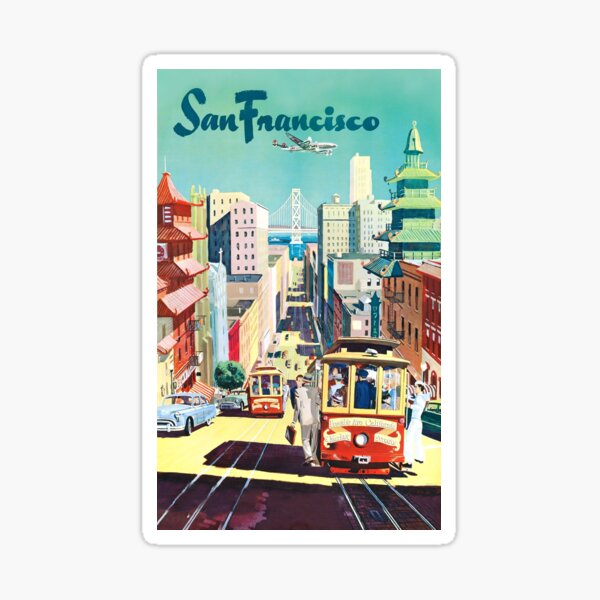 San Francisco - Vintage Travel Poster Sticker