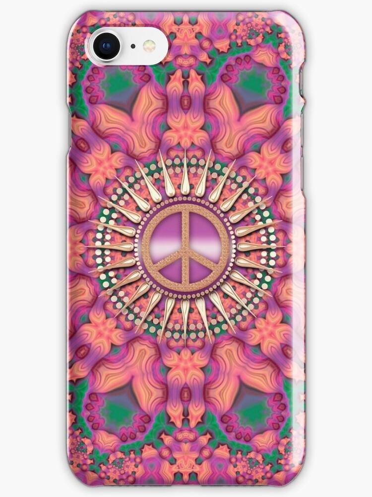Pink Fractal Bling Peace by webgrrl