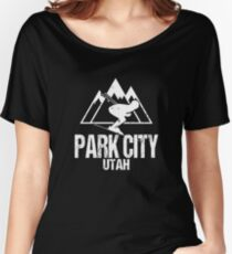 Park City Utah Skiing Retro Distressed Women's Relaxed Fit T-Shirt