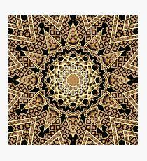 Golden Sun Mandala Geometric Flower Photographic Print