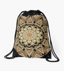 Golden Sun Mandala Geometric Flower Drawstring Bag